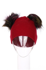 Dozen Assorted Color Double pompom Beanies
