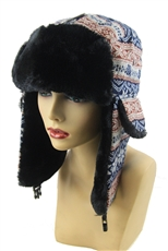 DZ Pack Assorted Color Soft Fur Isle Print Aviator Hat