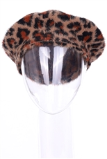 A Dozen Assorted Color Leopard Soft Fur Beret