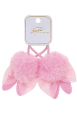 A Dozen Assorted Color 2-pc Bunny Pompom Hair Tie Set