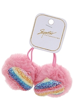 A Dozen Assorted Color 2-pc Heart Pom Pom Hair Tie Set