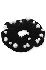 A Dozen Black Pearl Embedded Scrunchie
