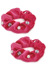 A Dozen Assorted Color 2-pc Multi Bead Embedded Scrunchie Set