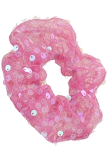 A Dozen Assorted Color Sequin Accent Scrunchie