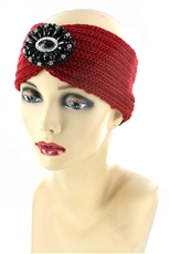 Dozen Assorted Color Crystal Charm Accent Knit Headwrap