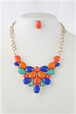 Crystal Acrylic Gem Statement Necklace Earring Set
