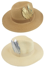 Half Dozen Assorted Color Metallic Feather Accent Sun Hat