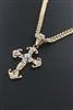 Metallic Chain Skull Cross Pendant Necklace