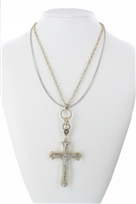 Layer Chain Rhinestone Cross Pendant Necklace