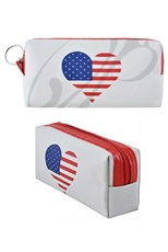 A Dozen Assorted Color American Flag Print Pouch