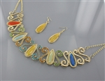 Rhinestone and Multi Tone Acrylic Bead Drape Necklace and Earring Set