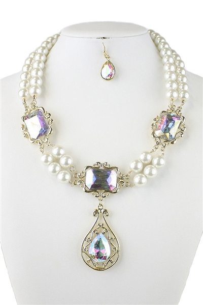 Pearl Glass Beaded Teartdrop Pendant Necklace Earring Set