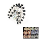 Dozen Assorted Color Rhinestone Peacock Ring