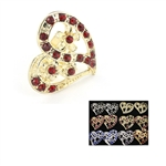 Dozen Assorted Color Rhinestone Heart Ring