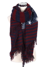 A Dozen Assorted Color American Flag Fringe Scarves