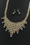 Faux Pearl / Metallic Bib Necklace Earring Set