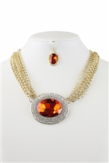Rhinestone Embedded Glass Bead Pendant Necklace Earring Set