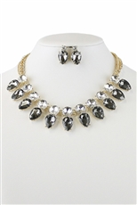 Teardrop Crystal Statement Necklace Earring Set