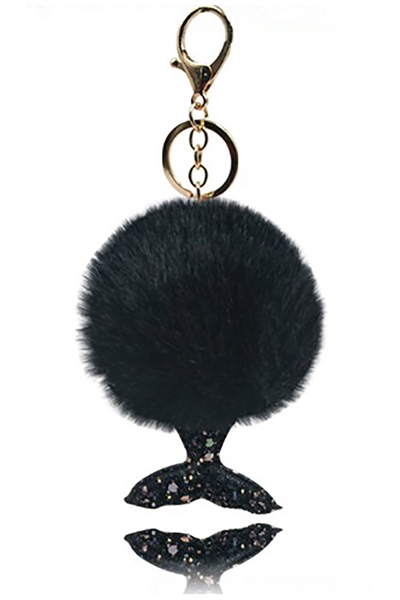 A Dozen Assorted Color Mermaid Pompom Key Ring