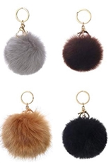 A Dozen Assorted Color Faux Fur Pompom Key & Bag Charm