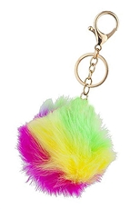 A Dozen Assorted Color Rainbow Pompom Key Ring
