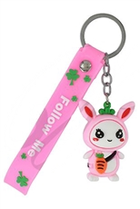 A Dozen Assorted Color Easter Bunny Key Ring