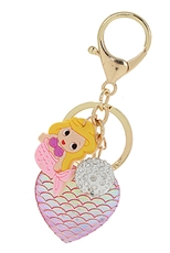 Dozen Assorted Color Mermaid Heart Key Ring