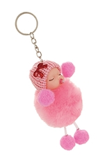 Dozen Assorted Color Baby Pompom Key Ring