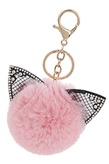 A Dozen Assorted Color Cat Pompom Key Ring