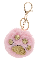 A Dozen Assorted Color Paw Pompom Key Ring