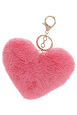 A Dozen Assorted Color Heart Pompom Key Chain