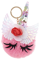 A Dozen Assorted Color Unicorn Pompom Key Ring