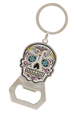 A Dozen Assorted Color Sugar Skull Bottle Opener Key Chains