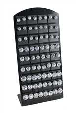 3 Dozen Assorted Size Clear Stud Earring with Display Case