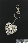 Dozen Assorted Color Pearl Heart Charm Key Chain