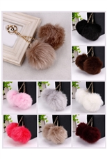 Dozen Assorted Color Faux Fur Double Pompom Key & Bag Charm