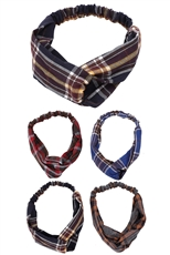 A Dozen Assorted Color Plaid Print Headwrap