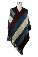 DZ Pack Assorted Color Multi Tone Fringe Knit Poncho