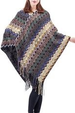 A Half Dozen Assorted Color Multi Tone Chevron Poncho