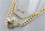 Lion Head Double Chain Necklace Earring Set