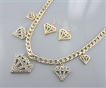 Diamond Shape Charm Chain Necklace Earring Set