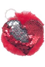 A Dozen Assorted Color Sequin Heart Pompom Key Chain