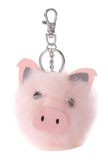 A Dozen Assorted Color Pig Pompom Key Ring