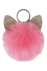 Dozen Assorted Color Cat Ear Pompom Key Ring
