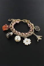 Faux Leather Chain Floral Multi Charm Bracelet