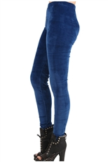 Solid Blue Velour Fashion Leggings