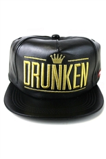 Embroidered Faux Leather Snapback Hat