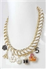 Faux Leather Chain Floral Multi Charm Necklace
