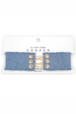 Frayed Denim Chain Corset Choker Necklace