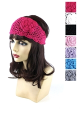 Dozen Assorted Color Floral Charm Knitted Headwrap